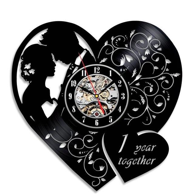 Disque Vinyle Horloge Murale Moderne Design Amour Forme Horloges Un