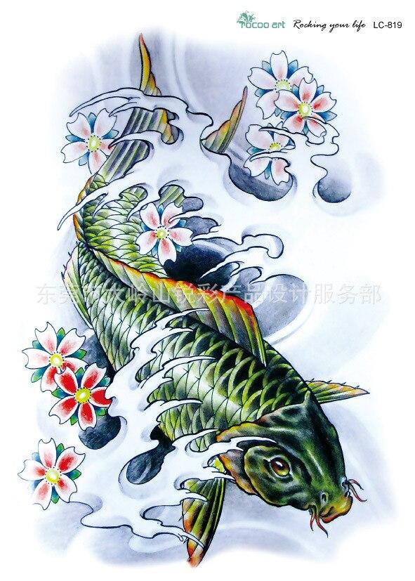 22 16 cm ikan koi bunga desain stiker tato tato temporer tahan air lengan tubuh pria seni lc2819 di sementara tato dari kecantikan kesehatan