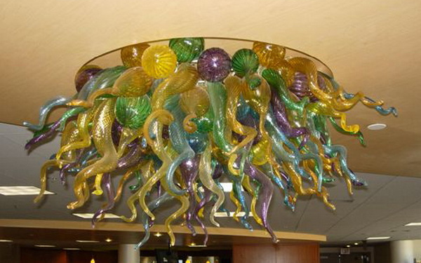 New Designs Colorful High Ceiling Light Moder Fancy Lighting Chihuly Style 100% Hand Blown Glass Ceiling Lights