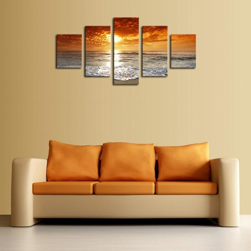 Unframed 5 Panels Yellow Setting Sun Seascape Canvas Print Painting ...