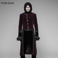 PUNK RAVE Men Gothic Jackets Standing Collar Swallow Tail Jacket Retro Military Jacket Evening Party Swallow Tail Woolen Coat