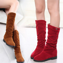 ELGEER Autumn and winter new womens boots flat bottom plus velvet high fashion casual long section warm