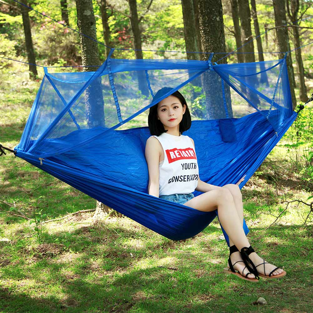Strength Fabric Mosquito Net Portable Extra High Camping Hammock Lightweight Hanging Bed Durable Packable Travel Bed( 3 Color ) camping hammock portable mosquito hammocks lightweight