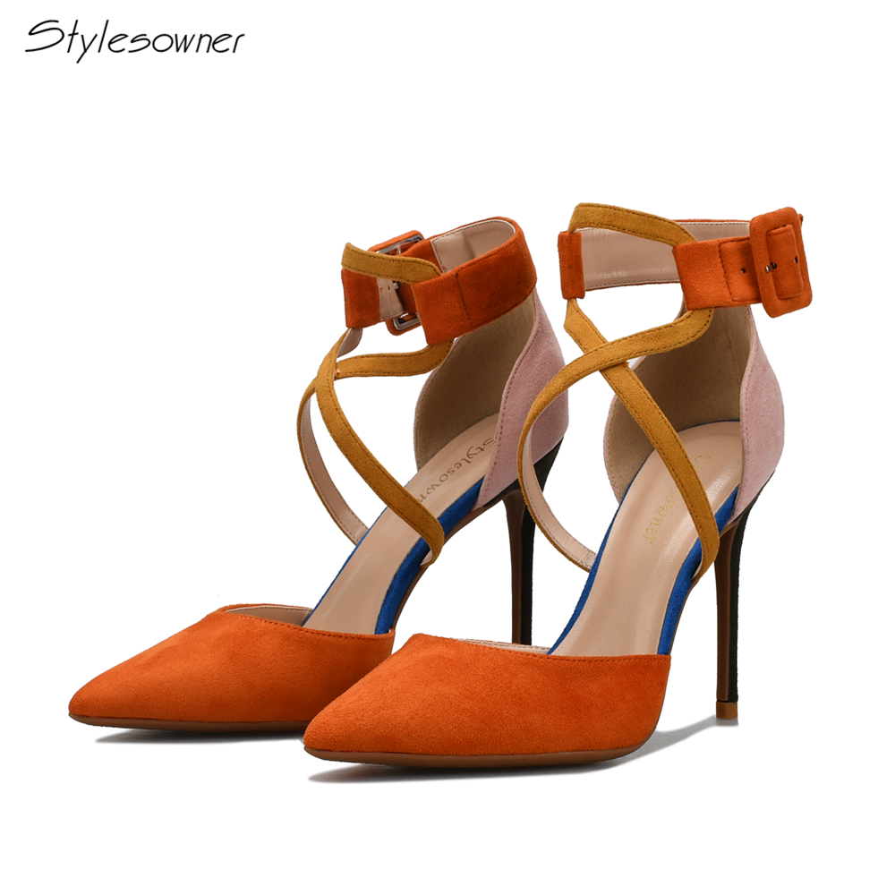 Stylesowner Mixed Color Women Shoes Pointed Toe Pumps Faux Suede Dress Shoes High Heels Shoes Wedding Buckle Thin Heels zapatos mujer pointed toe thin high heels sandals mixed color single shoes woman stiletto dress women pumps 2018