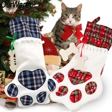 OurWarm 20Pcs Dog Paw Christmas Stocking 46x 28cm Plaid Gift Bags Xmas Tree Ornaments Large Cat Socks New Year Decor