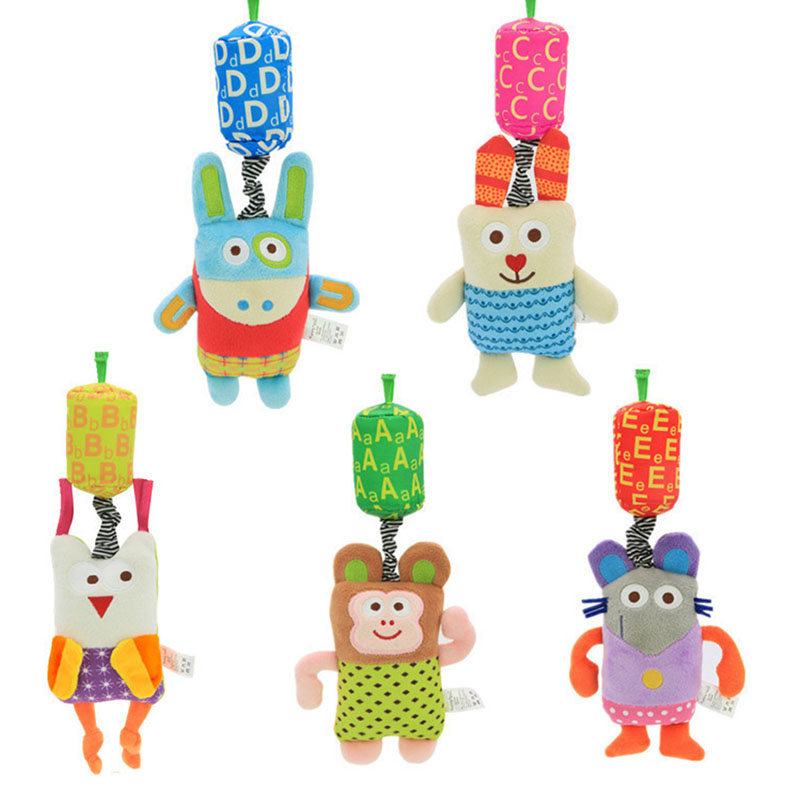 Kawaii Animal Baby Toy Crib Stroller Baby Bed Hanging Plush Toy Hand Bell Windbell Multifunctional Hanging Rattles Mobile