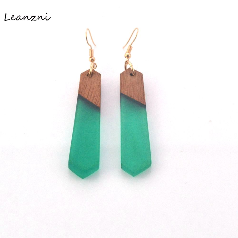 Ear ring fashion New features of natural wood grain resin earrings, green with fashionable women's jewelry, gifts wholesale.