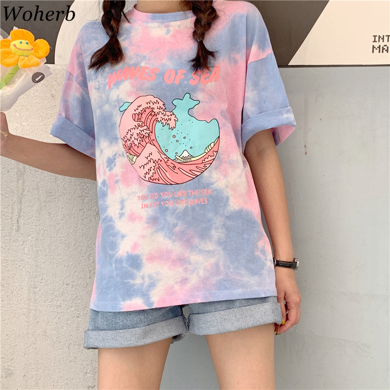 Woherb 2019 Harajuku Tie Dye T Shirt Casual Summer Tops Women Cartoon Letter Print Graphic Tees Female Aesthetic Clothes 22528