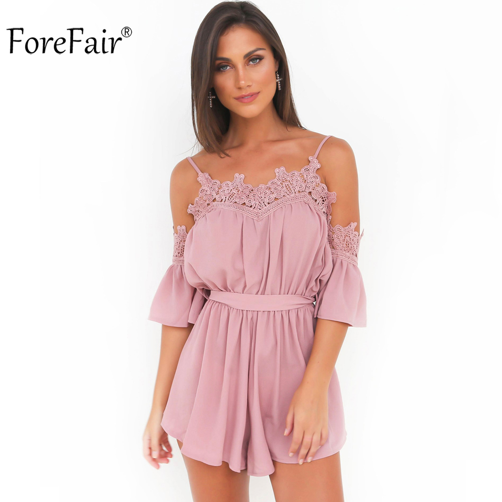 fd1982b3d84 ForeFair Sexy Off Shoulder Flare Sleeve Short Pink White Chiffon Jumpsuit  Women Plus Size Loose Tunic Lace Rompers Playsuits