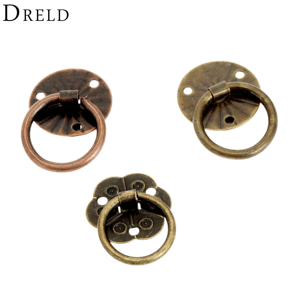 DRELD 12pcs Antique Brass Cabinet Knobs And Handle Jewelry Box Furniture Handle Cabinet Drawer Knob Ring Furniture Pull Handle contemporary and contracted brass material handle straight round bar cabinet cabinet wardrobe drawer artical metal handle