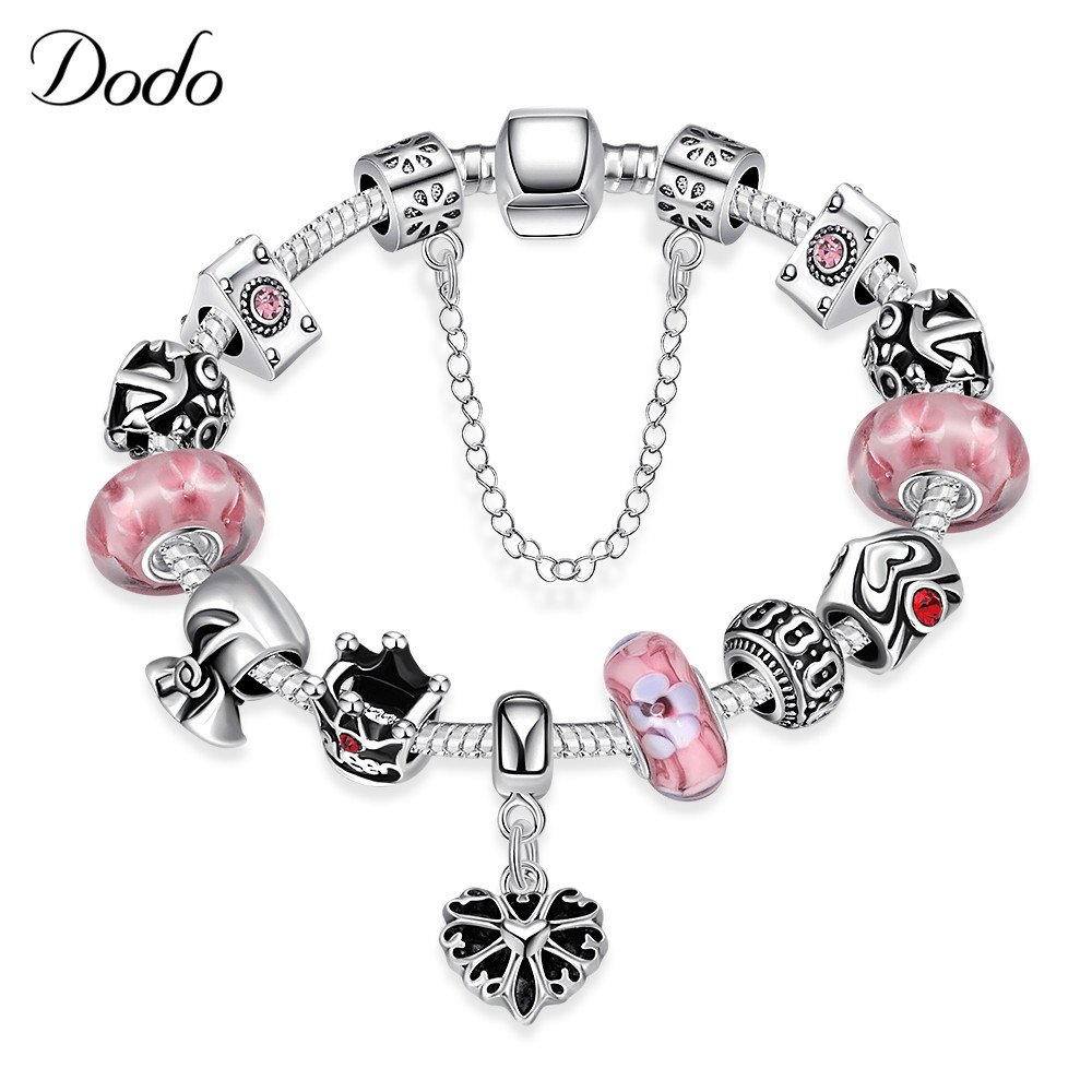 Authentic Silver Plated 925 Bracelet & Bangle Lucky Cherry Blossoms Crystal Heart Charm Beads Fit Original Women DIY Jewelry P12