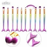 Professional 10 PCS Mermaid Makeup Brushes Set Foundation Blending Powder Eyeshadow Contour Concealer Blush Cosmetic Makeup