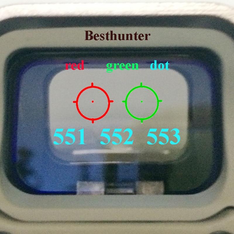 551 552 553 Rosso Verde Dot Holographic Sight Scope Caccia Red Dot Reflex Sight Mirino Con 20mm Mount Per Airsoft pistola