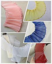 NEW 10cm Wide Single-layer Double-locked Pleated Tulle Lace Fabric DIY Clothing Skirt Curtain Home Textile Sewing Material Decor