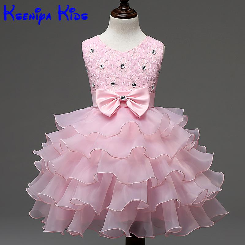 2016 Korea Child Baby Girl Beaded Lace New Flower Girls Summer Dresses For Party And Wedding Baby Girl Birthday Dress For Girls summer 2017 new girl dress baby princess dresses flower girls dresses for party and wedding kids children clothing 4 6 8 10 year
