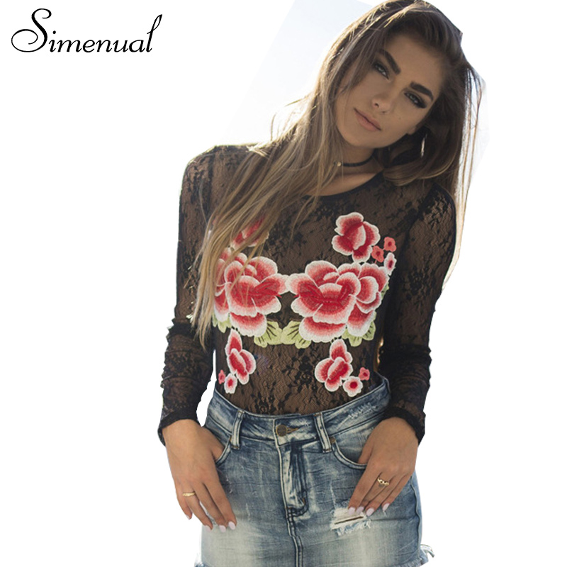 Simenual Fashion streetwear lace t shirt summer embroidery women tops hollow out