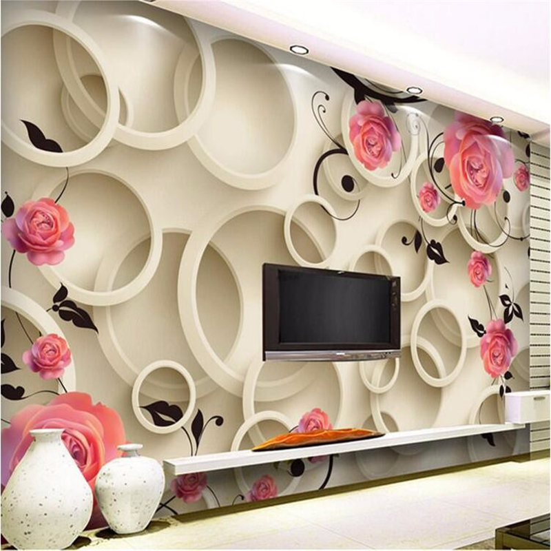 beibehang wallpaper for walls 3 d Rose circle fantasy floral living room sofa bedroom backdrop 3D large wall mural wall paper wallpaper for walls 3 d modern trdimensional geometry 4d tv background wall paper roll silver gray wallpapers for living room
