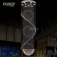 Modern Long Spiral Living Crystal Chandeliers Lighting Lustres Fixture for Staircase Stair Lamp Showcase Bedroom Hotel Hall