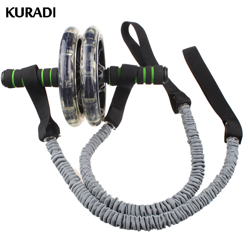 2PCS Ab Roller Wheel  Pull Rope Exercise Stretch Waist Abdominal Slimming Fitnes