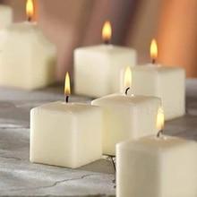 Big White Square Candles Romantic Wedding Bougies Scented Birthday Candle Wax Bougie Decoratif Tealight Luxury 50KO314