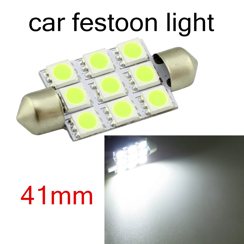 hot sale 10 Pieces Interior Light Dome 41mm F-estoon 5050 9SMD LED White 12V car auto door reading roof best price
