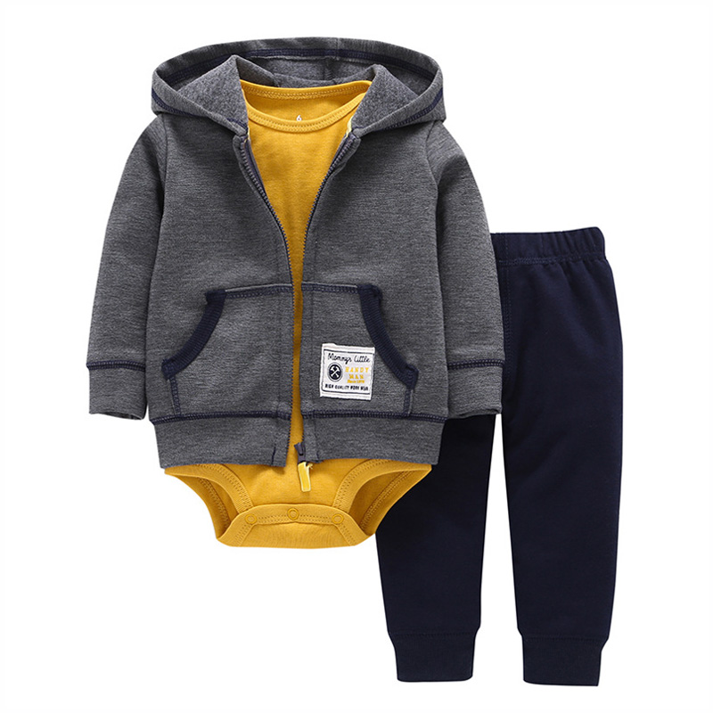 2018 Baby Boy Girl Clothes 3pcs Clothing Sets Long Sleeve Hooded Pullover+Bodysuit+Pants Casual Newborn Clothes Baby Outfit