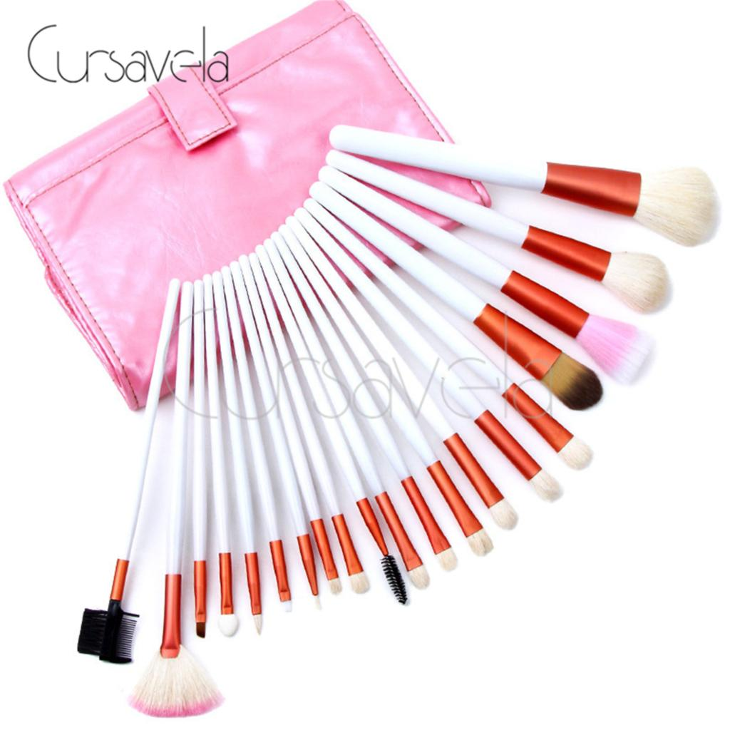 Professional Makeup Brushes Set Cosmetic 20 Pcs Pink Make up Brushs Foundation Powder Brush Wool Blush With Bag 10pcs tooth brush shape oval makeup brush set multipurpose makeup brushes professional foundation powder brush kits make up tool