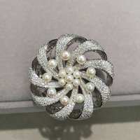 natural freshwater pearl brooch pins pave stone 925 sterling silver with cubic zircon winnower windmill hollow out pierced