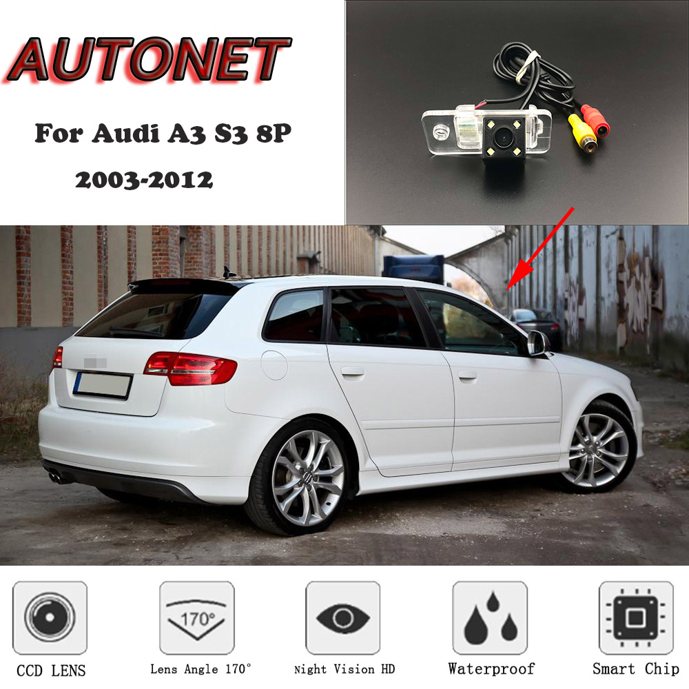 AUTONET HD Night Vision Backup Rear View camera or Bracket For Audi A3 S3 8P 2003-2012 3D 5D /License Plate camera