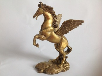 Old Decorated Wonderful Hand Copper Carve Gallop Pegasus Rare Lucky Big Statue