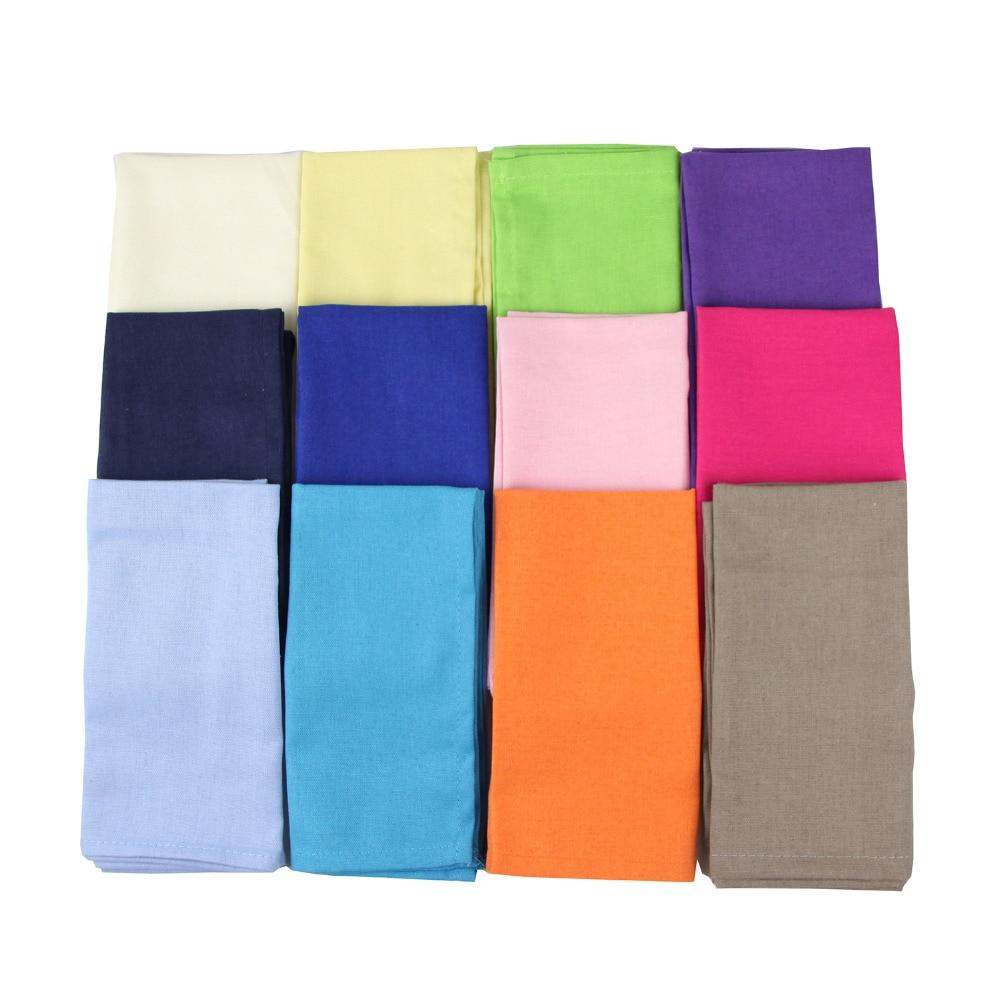 Set Of 12 Pcs Cloth Napkins 40x40cm Cotton Linen Napkins Placemat Soft Dining Table Napkins Mat Kids Table Napkin Fabric