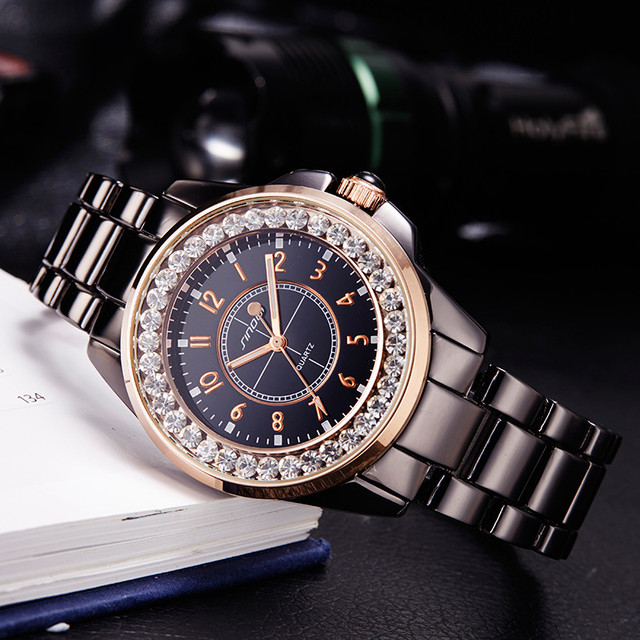 f7e39dabe4d 2017 Moda Feminina SINOBI Top Marca de Luxo Vestido de Diamantes Relógios  de Imitação de Cerâmica