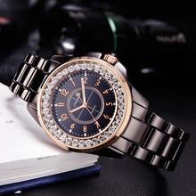 Купить с кэшбэком 2017 SINOBI Fashion Women Diamonds Wrist Watches Imitation Ceramics Watchband Top Luxury Brand Dress Ladies Geneva Quartz Clock