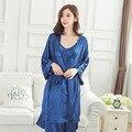 3 Шт./компл. Горячие Продажа Синий Женщин Silk Район Одежды Платье Кимоно Юката Китайские Женщины Сексуальное Женское Белье Пижамы Плюс Размер