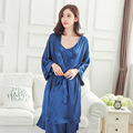 3 Pçs/set Venda Quente Fêmea Azul Mulheres Chinesas Seda Rayon Vestes Vestido Kimono Yukata Sexy Sleepwear Lingerie Plus Size