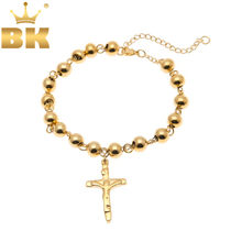 Stainless Steel Rosary Bracelet New Top Quality Women Bead Bracelet With Cross Jesus Pendant Religious Catholic Bracelet(China)