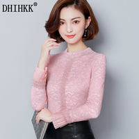 DHIHKK New 2017 Women Autumn Winter Long Flare Sleeve Fleece Blouse Shirt Lace Tops Fashion Blusas