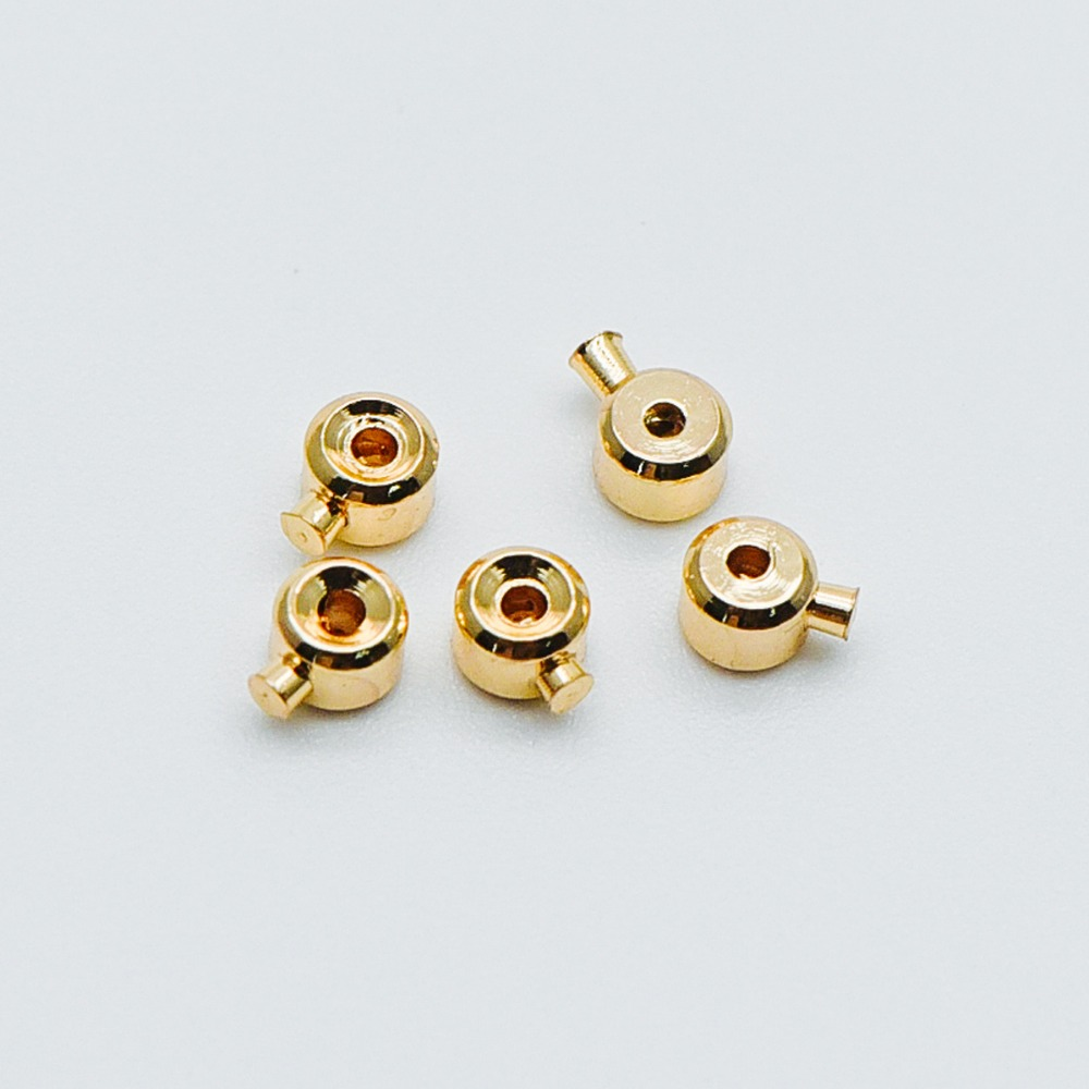 10pcs Gold/ Silver Crimp Rondelles, 18K Gold/ Rhodium Plated Brass Crimp Beads 3x2mm, Lead Nickel Free (GB-400)