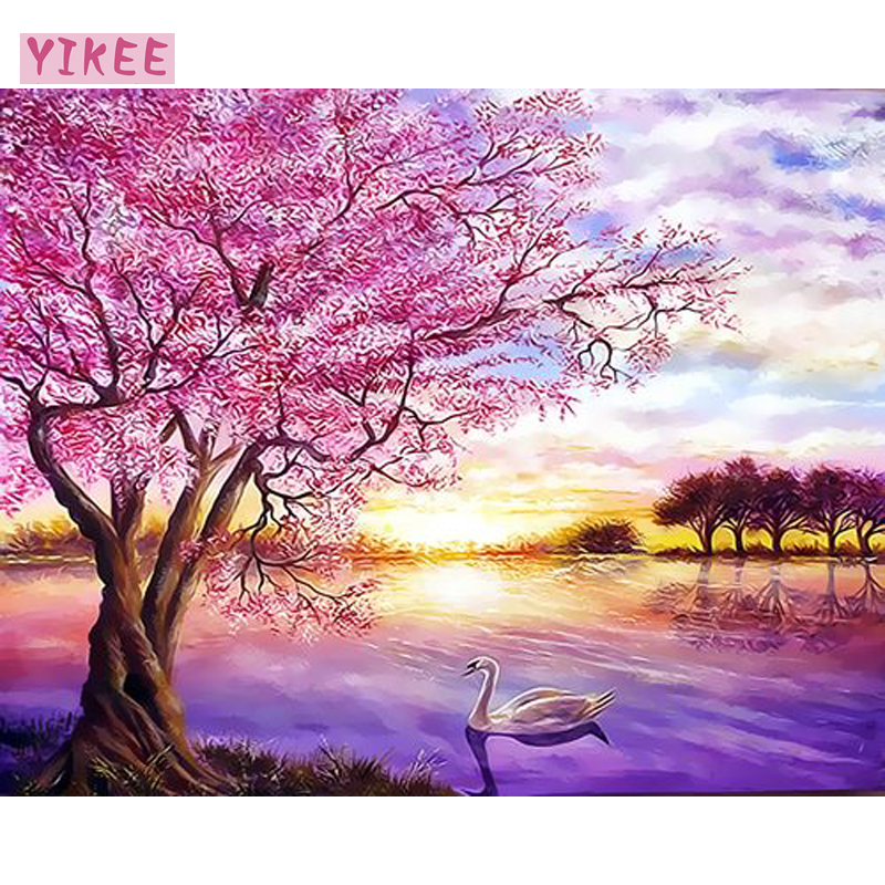 Oil Paint By Number,paint Canvas,pink Tree And Swan Landscape,painting Colorings By Numbers