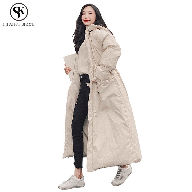 Parkas Women's Clothing Honest Winter Coat Women 2018 Korean New Fashion Solid Color Hooded Thicken Long Cotton Coat Female Plus Size Casual Warm Parka Lgp682