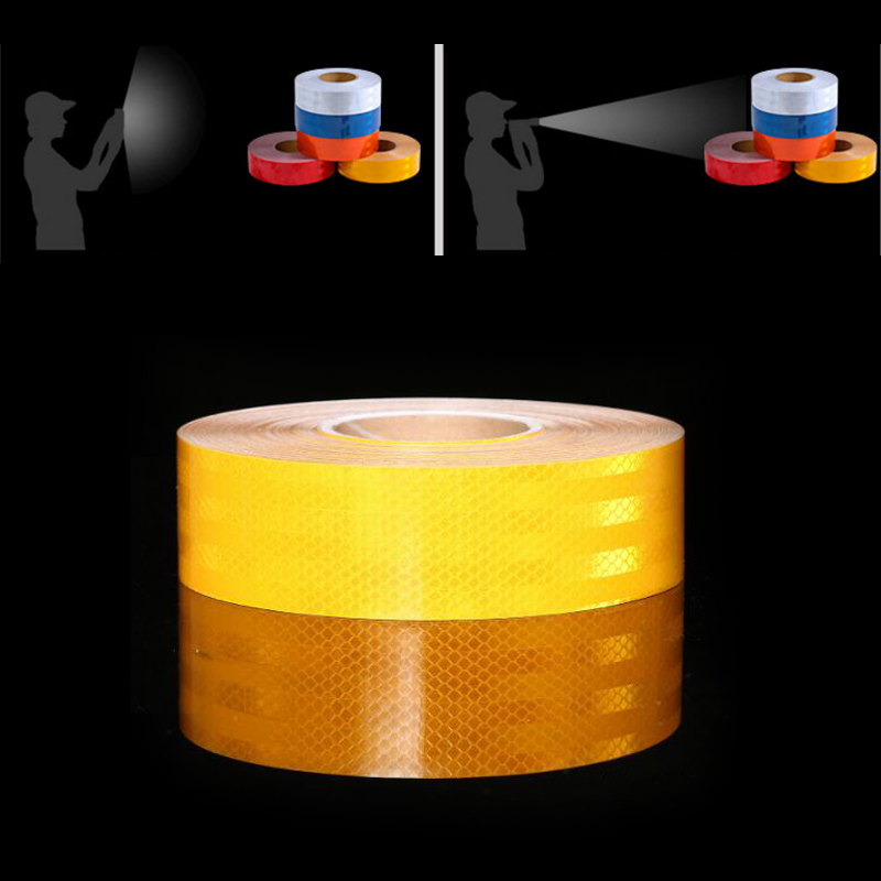 50mm X 50m Red/yellow  Reflective Strips Car Stickers Car-styling Motorcycle Decoration Automobiles Safety Warning Mark Tape