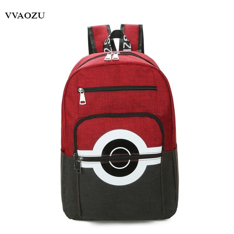 Novo bolso monstros dos desenhos animados das mulheres dos homens lona mochila 5 cores pokemon poke bola sacos de ombro bookbags mochila escolar