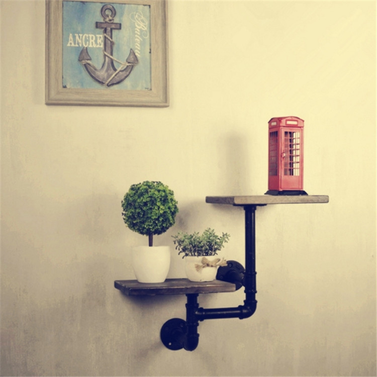 American country Retro Industrial Pipes Iron Shelves metal pipe ...