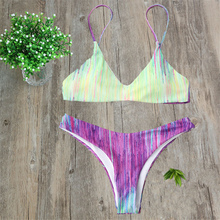 Sexy Rainbow stripes Have Pad Bikinis female Swimwear swimming suit for women