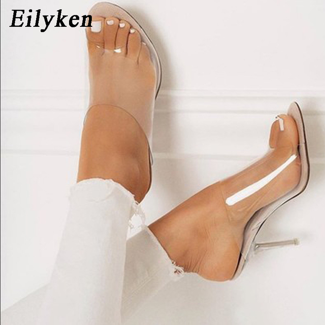 3191bcc8b57 US $16.41 45% OFF|Eilyken 2019 PVC Jelly Slippers Open Toe High Heels Women  Transparent Perspex Slippers Shoes Heel Clear Sandals Size 35 42-in ...