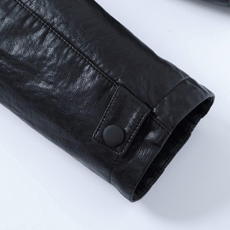 MSAISS 2017 новая весенняя Мужская короткая куртка для отдыха мужская кожаная куртка с воротником Большой размер Черная мужская кожаная куртка - 5