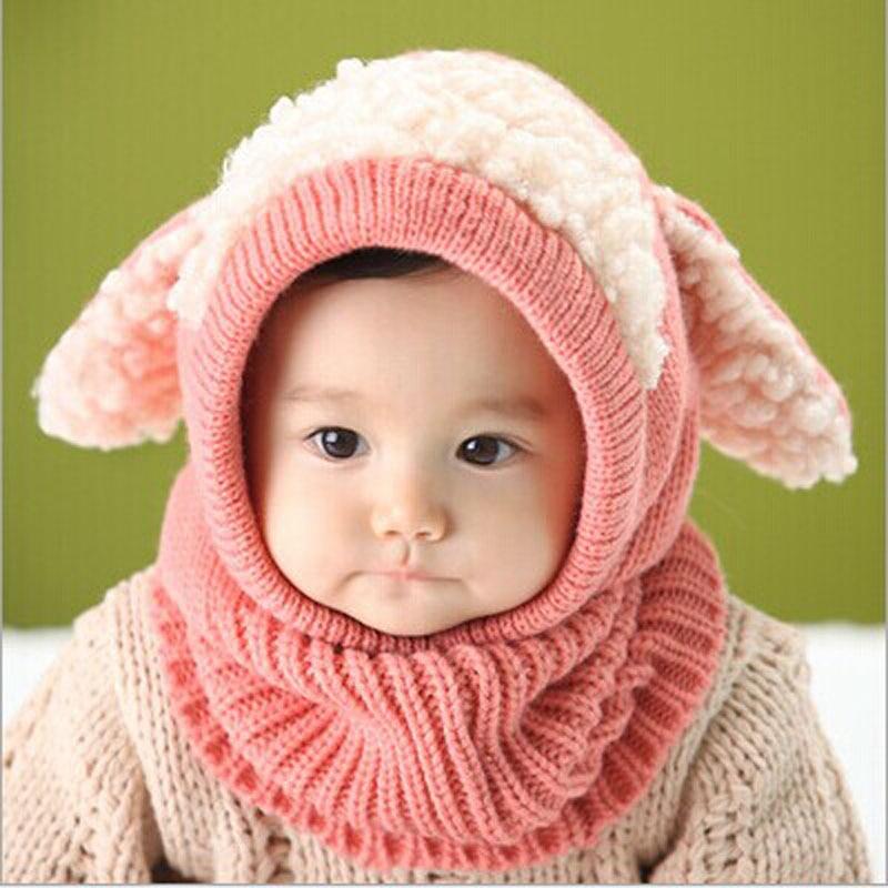 Inverno Bebê Crianças Meninos Meninas de Lã Quente Touca Capuz Cachecol  Caps Chapéus 830cf0c7a1f