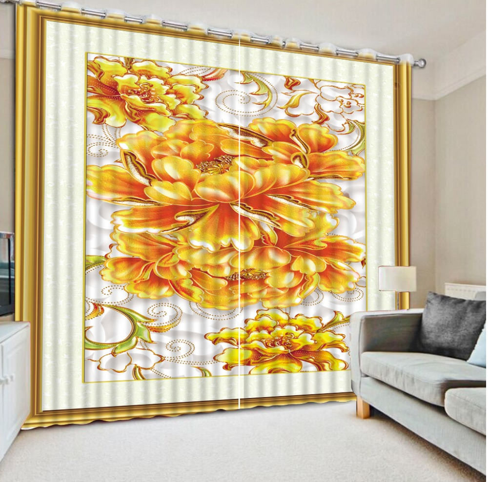 3D Curtains Bed Room Living Room Office Hotel Cortinas Golden Peony Flower Pattern Custom Any Size 3D Curtain Blackout Shade3D Curtains Bed Room Living Room Office Hotel Cortinas Golden Peony Flower Pattern Custom Any Size 3D Curtain Blackout Shade