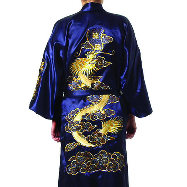 2d8c6843f9 Plus Size Chinese Men Embroidery Dragon Robes Traditional Male Sleepwear  Nightwear Kimono With Bandage Wholesale 010627