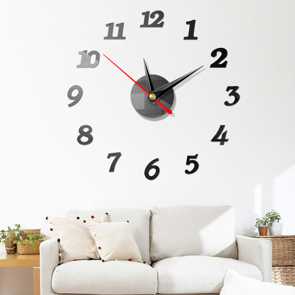 NEW Modern Large Wall Clock 3D Mirror Sticker Unique Big Number Watch DIY Decor